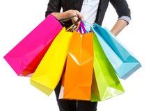 Ragazza con i sacchetti della spesa immagini stock libere da diritti