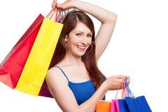 Ragazza con i sacchetti di acquisto - sally Fotografia Stock Libera da Diritti