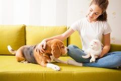 Ragazza con i suoi animali domestici fotografia stock