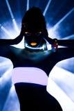 Ragazza con il ballo ultravioletto della discoteca di trucco fotografia stock libera da diritti