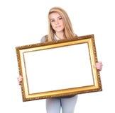 Ragazza con il blocco per grafici dello copia-spazio fotografia stock libera da diritti