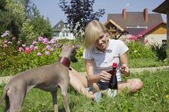 Ragazza con il botle del vino di apertura del cane Immagine Stock Libera da Diritti