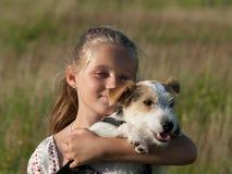 Ragazza con il cane Fotografie Stock