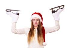 Ragazza con il cappuccio del Babbo Natale Fotografia Stock