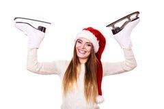 Ragazza con il cappuccio del Babbo Natale Immagine Stock