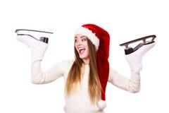 Ragazza con il cappuccio del Babbo Natale Fotografia Stock Libera da Diritti
