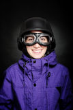 Ragazza con il casco e gli occhiali di protezione Immagini Stock