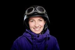 Ragazza con il casco e gli occhiali di protezione Fotografia Stock Libera da Diritti