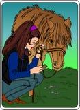 Ragazza con il cavallo Immagini Stock