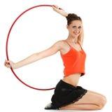 Ragazza con il cerchio di hula Fotografia Stock