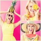 Ragazza con il collage della foto della frutta fresca Fotografia Stock Libera da Diritti