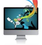 Ragazza con il computer portatile illustrazione vettoriale