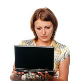 Ragazza con il computer portatile Immagini Stock
