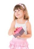 Ragazza con il contenitore di regalo Fotografia Stock