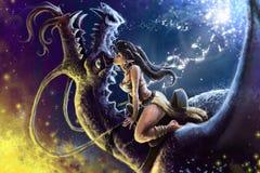 Ragazza con il drago illustrazione di stock
