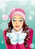 Ragazza con il fiocco di neve Immagini Stock
