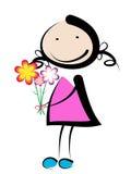 Ragazza con il fiore illustrazione vettoriale