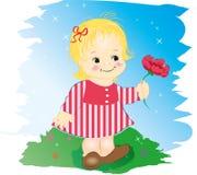 Ragazza con il fiore. illustrazione di stock