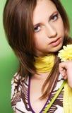 Ragazza con il fiore Fotografie Stock