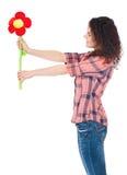 Ragazza con il grande fiore Fotografia Stock