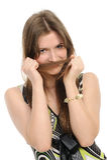 Ragazza con il hairdo che mette la coda della treccia Fotografie Stock