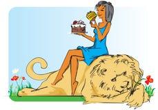 Ragazza con il leone e la torta. Immagini Stock