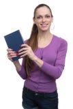 Ragazza con il libro isolato Fotografia Stock Libera da Diritti