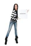 Ragazza con il manifesto fotografia stock libera da diritti