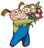 Ragazza con il mazzo di fiori Fotografie Stock