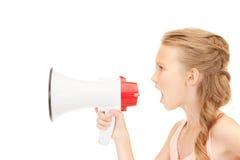 Ragazza con il megafono Immagine Stock Libera da Diritti