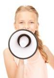 Ragazza con il megafono Immagini Stock Libere da Diritti