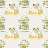 Ragazza con il modello senza cuciture dell'hamburger enorme e della birra royalty illustrazione gratis