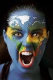 Ragazza con il programma di mondo Fotografia Stock Libera da Diritti
