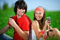 Ragazza con il ragazzo e con i bicchieri di vino su erba Immagine Stock Libera da Diritti