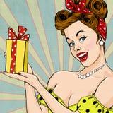 Ragazza con il regalo nello stile d'annata Pin sulla ragazza Invito del partito Cartolina d'auguri di compleanno Immagini Stock