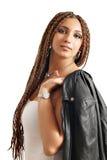 Ragazza con il ritratto dei capelli dei dreadlocks Fotografia Stock
