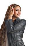 Ragazza con il ritratto dei capelli dei dreadlocks immagine stock