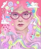 Ragazza con il ritratto lungo rosa dei capelli fotografia stock