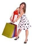 Ragazza con il sacchetto del regalo ed il contenitore di regalo. Fotografie Stock Libere da Diritti