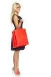 Ragazza con il sacchetto della spesa Fotografie Stock Libere da Diritti