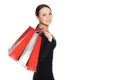 Ragazza con il sacchetto della spesa Fotografia Stock