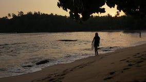 Ragazza con il surf che cammina al tramonto stock footage