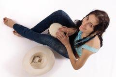 Ragazza con il tamburo Fotografia Stock