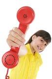 Ragazza con il telefono Immagini Stock