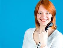 Ragazza con il telefono Fotografie Stock