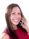 Ragazza con il telefono cellulare Fotografie Stock