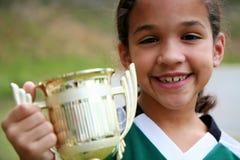 Ragazza con il trofeo Fotografie Stock