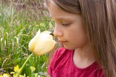 Ragazza con il tulipano Immagini Stock