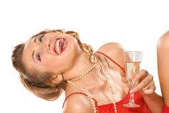 Ragazza con il vetro del champagne Immagine Stock
