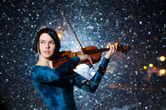 Ragazza con il violino Immagine Stock Libera da Diritti